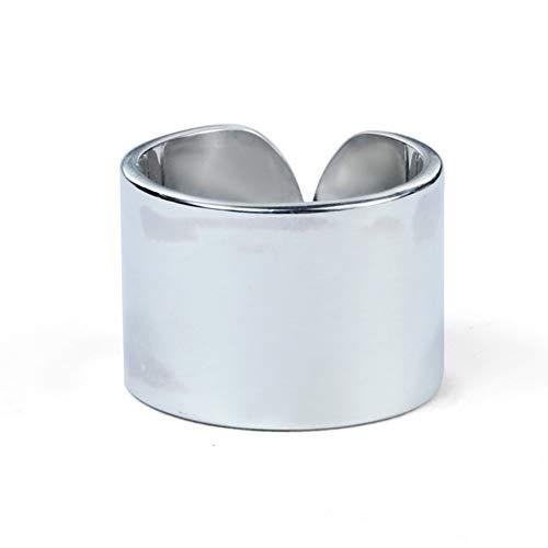 TIZIKJ 925 Sterling Silber Öffnungsringe gefertigt 15mm breit glatt flach umrandeten Ehering Ringe hoch polieren Schmuck (Passende Kreuz Eheringe)