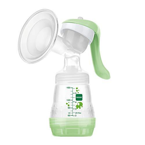 MAM Handmilchpumpe - Komfortable und kompakte Milchpumpe für effizientes, schonendes Abpumpen - Handpumpe für Muttermilch inkl. 1 x MAM Easy Start Anti-Colic Flasche