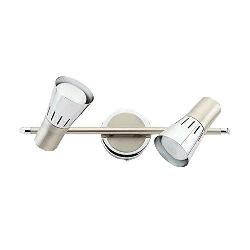 DeMarkt 505020302 Spot Double sur Rail à 2 Lampes Orientables Design Moderne en Métal couleur Chrome Nickel Satiné pour Salle de Bain Chambre Couloir 2x40W E14