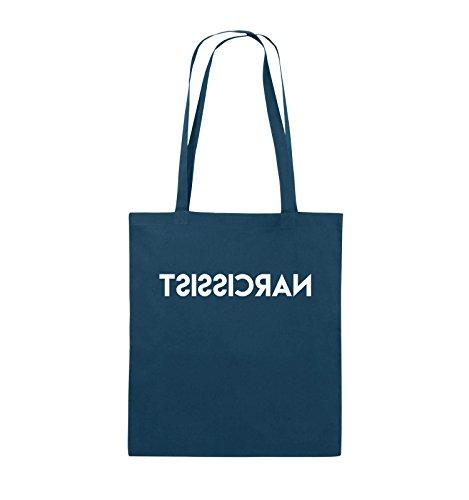Comedy Bags - NARCISSIST - GESPIEGELT - Jutebeutel - lange Henkel - 38x42cm - Farbe: Schwarz / Silber Navy / Weiss