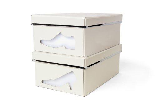 Karton-boot-schuh-boxen (Bigso Charlie Schuh Karton mit Windows cremefarben)