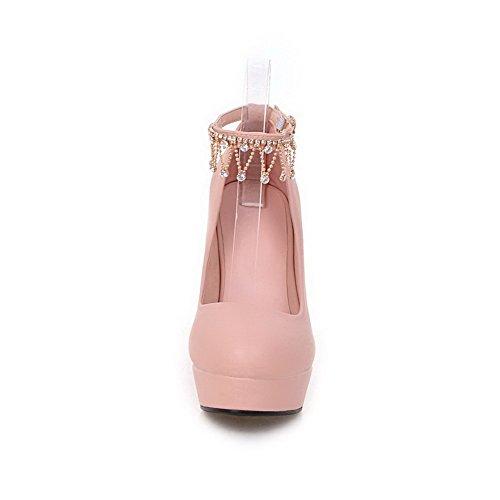 VogueZone009 Femme Pu Cuir à Talon Haut Rond Couleur Unie Boucle Chaussures Légeres Rose
