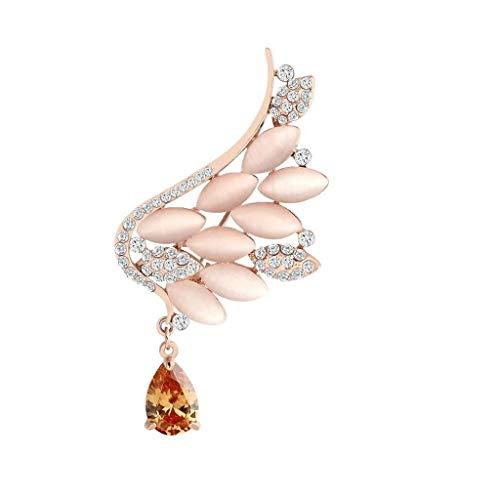 HU Angel Wings Brosche weiblich, umweltfreundliche Legierung, eingelegte Zirkonia, Kleid Brosche, Geburtstagsgeschenk 5 × 3,4 cm (Color : Champagne)