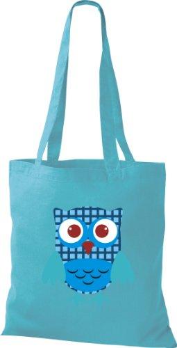 Stoffbeutel Bunte Eule niedliche Tragetasche mit Punkte Karos streifen Owl Retro diverse Farbe hellblau