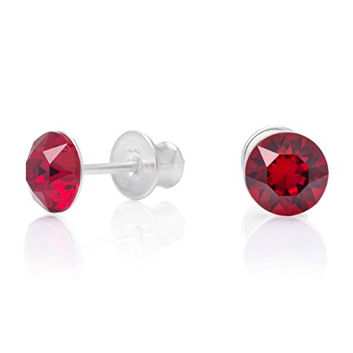 Lillymarie donne orecchini a perno argento vero rosso punto luce swarovski elements originali rotondi confezione regalo grazie per