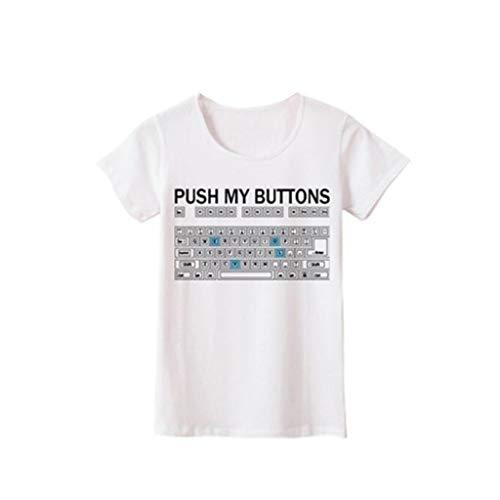iHENGH Damen Top Bluse Lässig Mode T-Shirt Frühling Sommer Bequem Blusen Frauen Mädchen Plus Size Print Tees Shirt Kurzarm T-Shirt Bluse Tops(Weiß, 3XL)