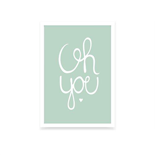 We Love Home Tableau avec Cadre en Bois Blanc Style scandinave Design Oh You (40 x 50)