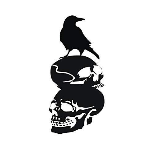 Schwarz Crow Schädel Silhouette Halloween Wandtattoos PVC Selbstklebende Tapete DIY Wandaufkleber Party Dekoration (Schwarz) ()