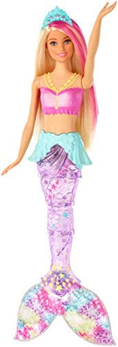 Barbie Dreamtopia Sparkle Lights Mermaid Doll with Swimming Motion and Underwater Light Shows, approx 12-inch