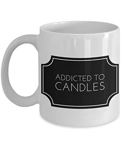 LUOBOGAN Funny Candle Making Mug 11 oz Ceramic Novelty Tea Cup | Addicted To Candles | Unique Quote Gift Idea for Girlfriend Sister Wife Friends Bestfriend Daughter Women Girls | White