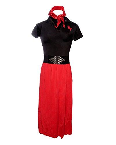(Emmas Kleiderschrank Pudel-Rock-Kostüm - Schließt schwarze und rote Socken-Hop-Outfit mit passendem Schal - Retro 1950er Jahre Frauen-Abendkleid für Halloween - Made mit UK Größen 8-14 (Women: 34, Red))