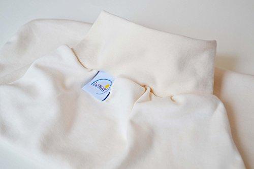 Strampelsack und Mütze aus Bio-Baumwolle, Schlafsack zum Pucken, Babys und Kinder, 50 56 (0-3 Monate), für Bett Kinderwagen, beige natur creme, Mädchen, Geschenkset -
