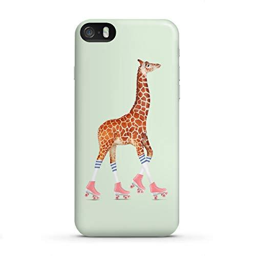 artboxONE Apple iPhone SE Premium-Case Handyhülle Rollerskating Giraffe von Jonas Loose