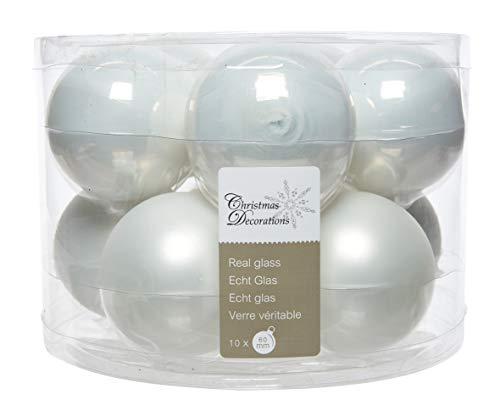 Christmas decorations - Lot de 10 boules noel blanc - Taille D 6 cm
