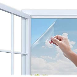 Rhodesy Film Miroir Fenêtre, Anti UV Contrôle de la Chaleur Sun Blocker, Protection de la Vie Privée Verre Film Décoratif pour la Maison et Les Fenêtres de Bureau, 90x200cm, Argent
