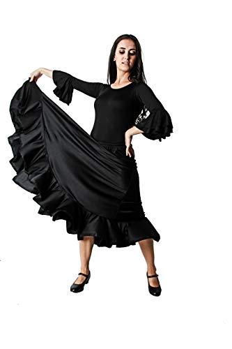 Costumizate! Falda de Baile Flamenco Negra con un Volante para Mujer Adulta Talla XXL