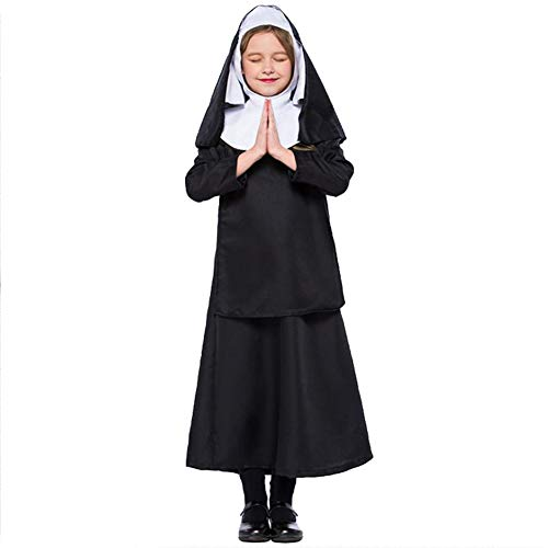 Kinder Nonne Kostüm Pastor Cosplay Jesus Christus Outfit Halloween Karneval Kostüm Schwarz