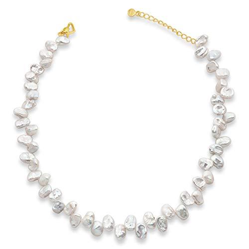 Collana di perle d'acqua dolce coltivate Strand Perle di Keshi barocche lunga 38 cm con catena di prolunga di Secret & You - Perle Keshi barocche perle nodose da 9-10 mm