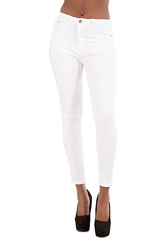Donna nero bianco blu a vita alta Slim Fit pantaloni da donna skinny fit stretch pantaloni taglia EU 6–20 White