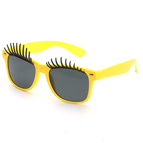 Yiph-Sunglass Sonnenbrillen Mode Perfect Party Favor Brille Partyzubehör Big Eyes Eyelashes Fanci-Frame Erwachsene Kinder Party Sonnenbrille (Farbe : Gelb)