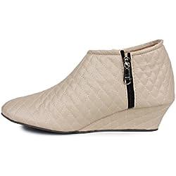 Bonzer Women's Synthetic Leather Beige Boots 5 UK