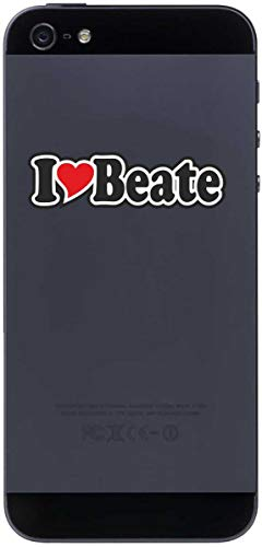 Preisvergleich Produktbild Aufkleber - I Love Heart - Decal Handyaufkleber Handyskin 70 mm Ich Liebe - Name (Mann,  Frau,  Kind,  Junge,  Mädchen) - I Love Beate