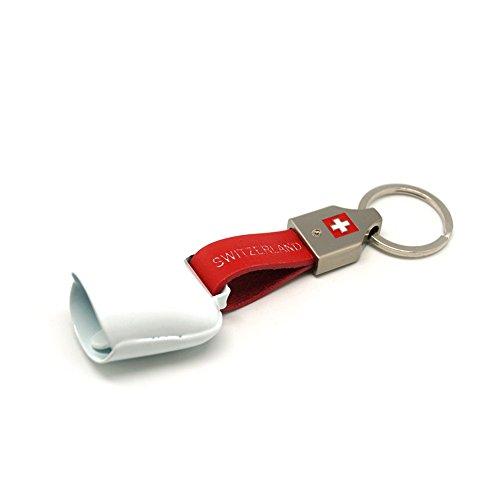 topspirit Schlüsselanhänger Glocke Switzerland aus Edelstahl und Kunstleder 12 cm (Weiss)