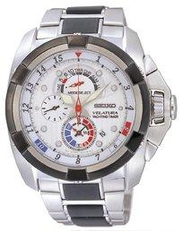 Seiko SPC005P1 – Reloj analógico de caballero de cuarzo con correa de acero inoxidable plateada