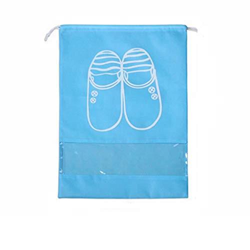 TDFGCR 10 stücke Durable Reise Schuhbeutel Zip View Window Pouch Wasserdichte Taschen 32CM-Himmelblau A