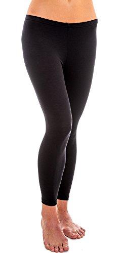 HERMKO 1720 Damen Legging aus 100% Baumwolle, Farbe:schwarz, Größe:36/38 (S) -