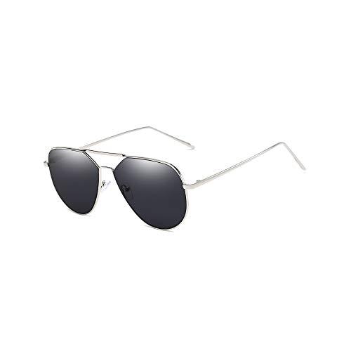 WJFDSGYG Große Sonnenbrille Zwei Strahlen Männer Sonnenbrille Frauen Dunkle Brillen Metall Dünnen Rahmen Anti-Uv-Objektiv