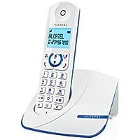 Alcatel F390 - Téléphone sans fil ultra efficace au design coloré, Pure Sound, Mains libres, Grand écran rétroéclairé, Grand répertoire, Sonnerie VIP - Blanc/Bleu