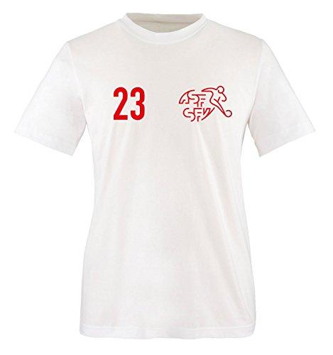 Trikot - Schweiz - 23 - Kinder T-Shirt - Weiss/Rot Gr. 110-116