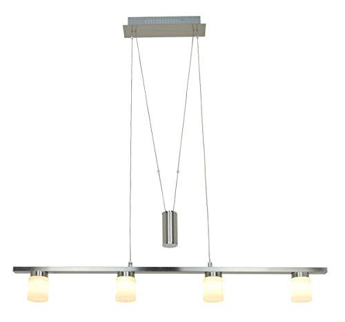 Satin Nickel Backplate (FOSHAN MINGZE 18W Glas Dimmbar LED Pendelleuchte Esstisch Höhenverstellbar Modern,Satin Nickel Fertige Kronleuchter Hängeleuchte LED Deckenleuchte mit Verstellbarem Draht für Küche/Esszimmer/Bar/Wohnzimmer(4LEDs,3000K,1440Lm))