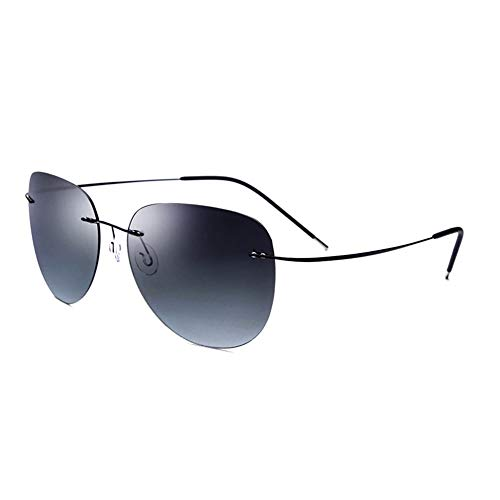 Rahmenlose Schutz Sonnenbrille Männer und Frauen ultraleichte Titanlegierung UV-Sonnenbrille Brille (Farbe : Black Frame Gradient Gray Piece)