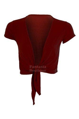 Fantasia Boutique da donna cravatta anteriore Ali maniche Bolero colore maglione Avvolto da donna Top 36–42 Vino