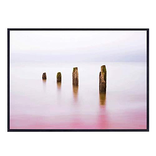 BHUA Meter Box Dekorative Malerei Up Flip Typ Für Restaurant Korridor Hotel Schlafzimmer, Kreative Rosa See Wasser Muster Schwarz PS Rahmen Kristall Oberfläche Wandbild ( Size : (50*35cm 34*25cm) )