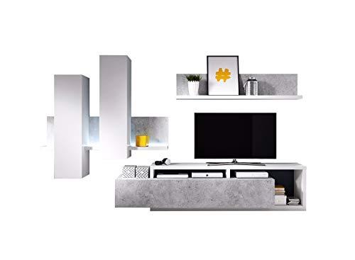 Nicht Zutreffend Wohnwand Anbauwand Wohnzimmerschrank 3-TLG. | Dekor | Betonoptik | Weiß | LED-Beleuchtung