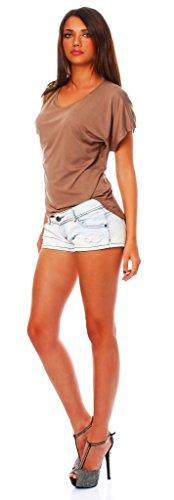 Kris Damen T-Shirt Sommer Top Tunika Shirt Kakao S