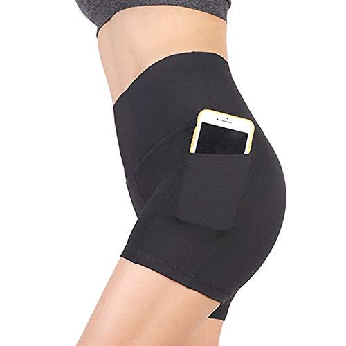 YOUCHAN Leggings Damen Kurze Sporthose Laufhose Tights mit Taschen Hohe Taille Blickdichte für Sport Yoga-SCHWARZ-XS