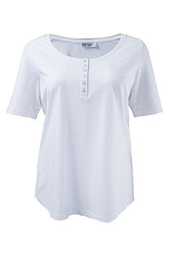 Ulla Popken Damen große Größen | Basic T-Shirt | Shirt mit Rundhals und Kurzarm, uni | Regular Fit | bis Größe XXXL | 697643 Weiß