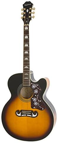 Epiphone EJ-200SCE Solid Top Cutaway Acoustic/Electric Guitar, Vintage Sunburst Finish,