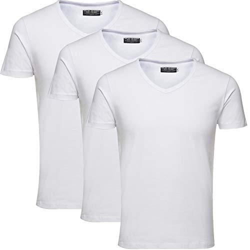 JACK & JONES Herren 3er Pack Basic T-Shirt V-Ausschnitt Rundhals Einfarbig Slim Fit Weiß Schwarz Blau Grau Mix S,M,L,XL,XXL (XXL, Weiss 3er Pack V-Neck ohne Wäschenetz)