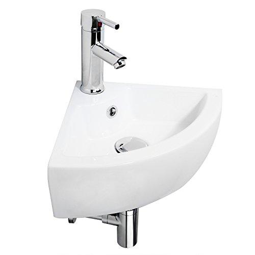 Hapilife Bathroom Sink Ceramic Cloakroom Corner Basin Wall Hung Hapi-S40A
