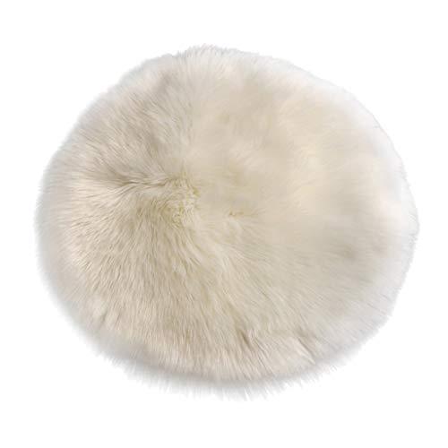 Fenteer Cuscino Seduta Soffice, Cuscino Imbottito, Tappeto Shaggy Rotondo, Cuscino Pad - Bianco 40 cm