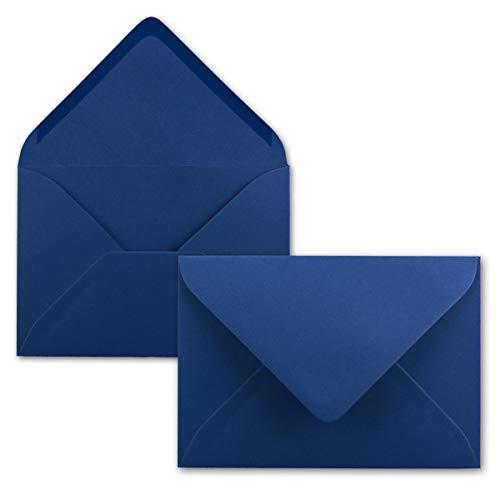 100 Brief-Umschläge - Nachtblau/Dunkel-Blau - DIN C6-114 x 162 mm - Kuverts mit Nassklebung ohne Fenster für Gruß-Karten & Einladungen - Serie FarbenFroh®