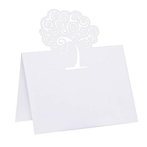 MEJOSER 50 Pezzi Segnaposto da Tavolo Cartellini Cartoncino Bigliettino Carta Albero della Vita Decorazione Matrimonio Battesimo Comunione Festa Compleanno
