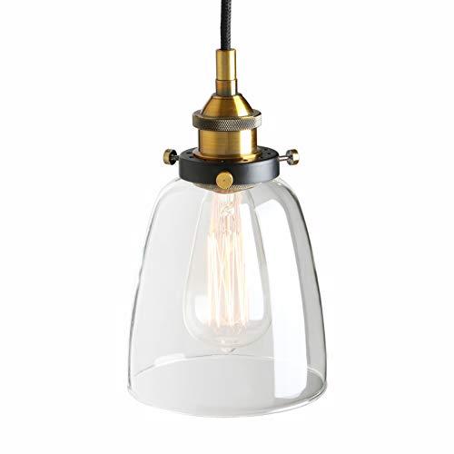 Pathson - Lámpara de Techo Colgante de Cristal con Forma de Campana...