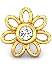 Candere By Kalyan Jewellers 18k (750) Yellow Gold and Diamond Daisy Changeable Nose Pin