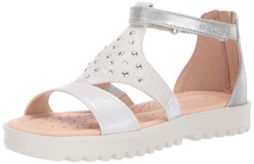 Geox Girls' J Sandal Coralie D Open Toe, White (White/Silver C0007), 5 UK Child